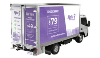 Back Corner View of an Alpha Car Hire Budget Moving Truck